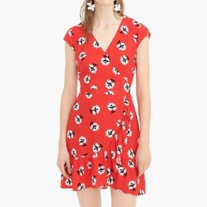 J. Crew Red Floral Print Ruffle Faux Wrap Dress